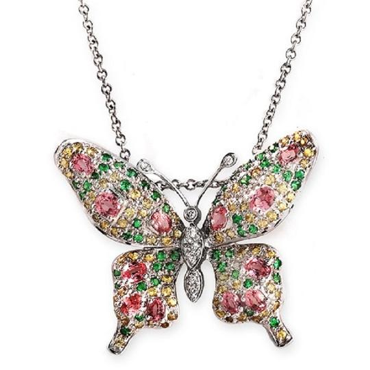 Preload https://item5.tradesy.com/images/14k-white-gold-09-ct-diamonds-245-ct-multi-stones-butterfly-necklace-23340019-0-0.jpg?width=440&height=440