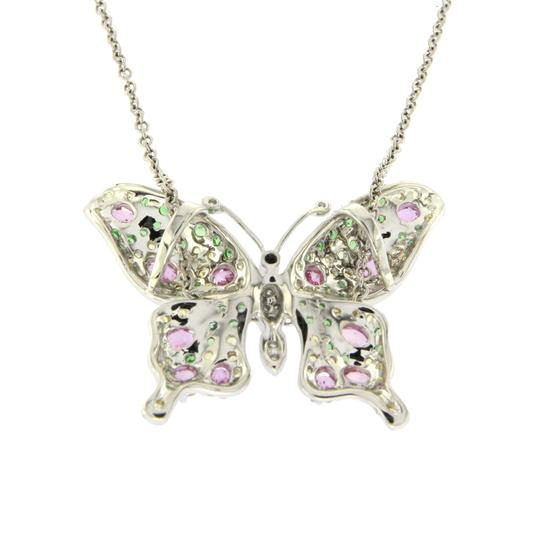Unbranded 14K White Gold .09 CT Diamonds 2.45 CT Multi Stones Butterfly Necklace