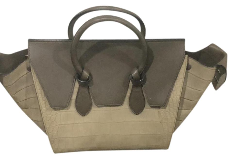 Satchel Céline 2 Suede Leather Tone Gray Tie YYqw16r