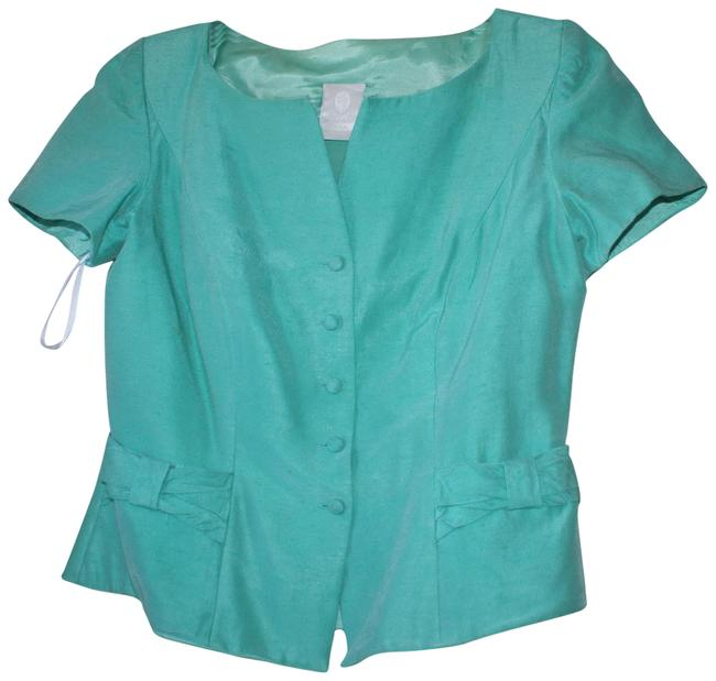 Preload https://item3.tradesy.com/images/watters-and-watters-bridal-green-blue-rayon-acetate-short-sleeve-blazer-size-12-l-23340127-0-2.jpg?width=400&height=650