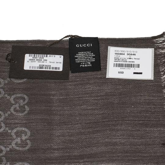 Gucci Gucci Graphite and Bark Brown New Gg Logo Wool Silk Scarf/Wrap
