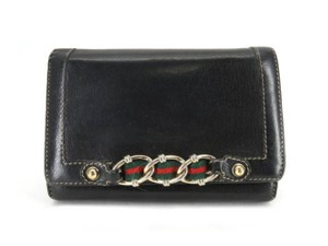 Gucci Sherry Web Shelly Chain Barbwire Black Clutch