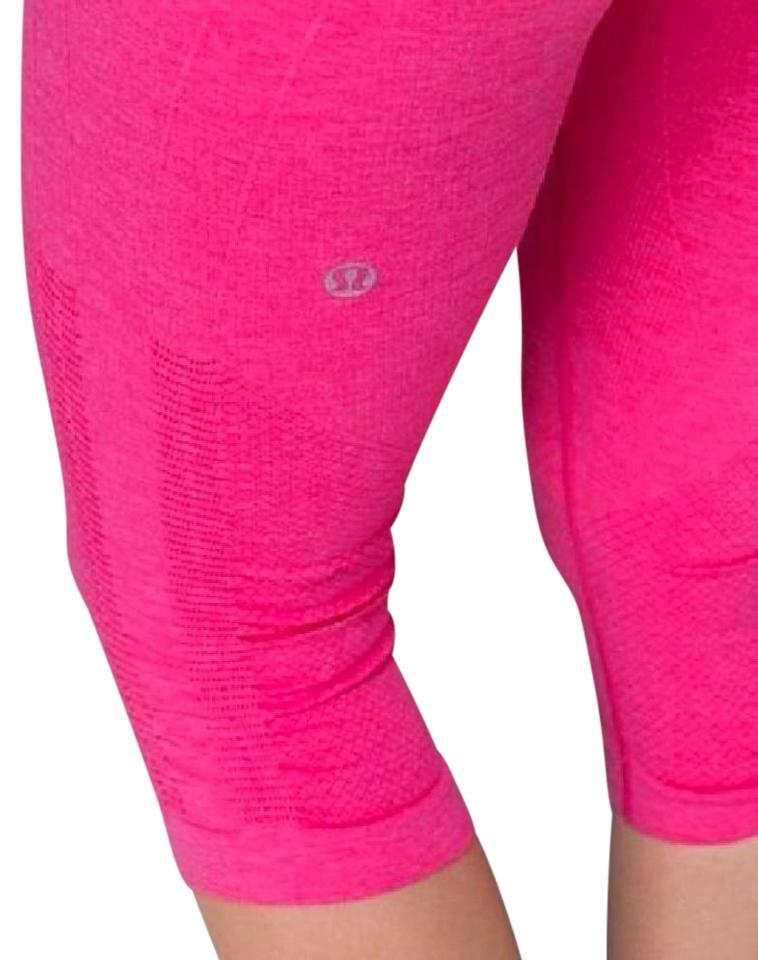 e796c359ca5ca0 Lululemon Lulu Seamless Ebb And Flow Bright Running Capris Pink Image 0 ...