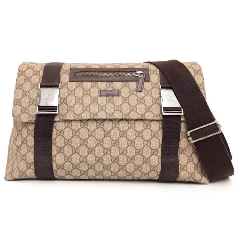 fbf4471678bcf9 Gucci Messenger Monogram Gg Supreme 227763 Brown Coated Canvas Cross Body  Bag