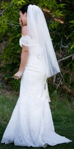 Jennifer Leigh Couture Veils and Accessories White Medium With Blusher Clusters Of Crystals Bridal Veil