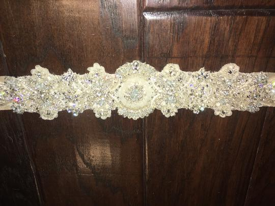Jennifer Leigh Couture Veils and Accessories Cream Ribbon Crystal Beaded Belt Sash