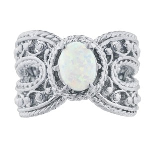 Elizabeth Jewelry Opal Oval Cocktail Design Ring .925 Sterling Silver