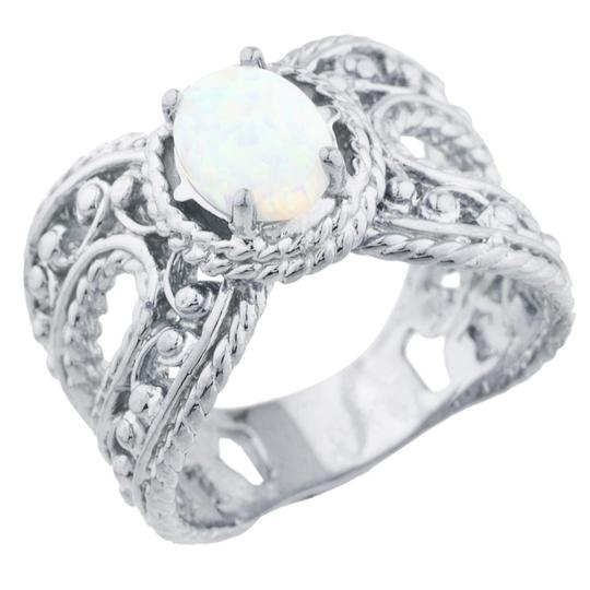 Elizabeth Jewelry Opal Oval Cocktail Design Ring .925 Sterling Silver Image 1