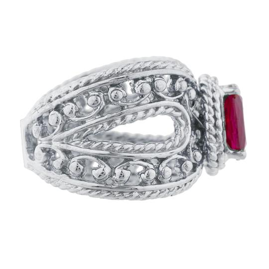 Elizabeth Jewelry 1.5 Ct Created Ruby Oval Cocktail Design Ring .925 Sterling Silver