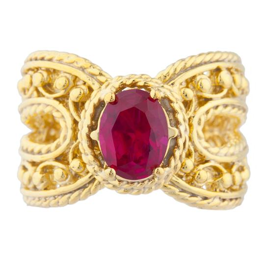 Preload https://item1.tradesy.com/images/red-14kt-yellow-gold-plated-created-ruby-oval-cocktail-design-ring-23340415-0-1.jpg?width=440&height=440