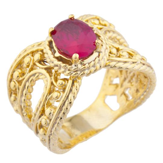 Elizabeth Jewelry 14Kt Yellow Gold Plated Created Ruby Oval Cocktail Design Ring Image 1