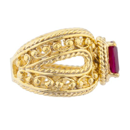 Elizabeth Jewelry 14Kt Yellow Gold Plated Created Ruby Oval Cocktail Design Ring Image 2