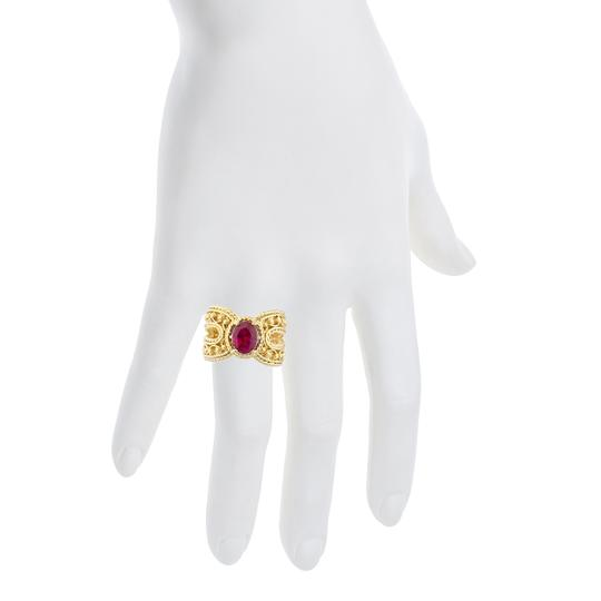 Elizabeth Jewelry 14Kt Yellow Gold Plated Created Ruby Oval Cocktail Design Ring Image 3