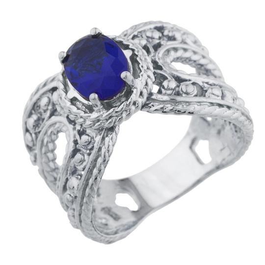 Elizabeth Jewelry 1.5 Ct Blue Sapphire Oval Cocktail Design Ring .925 Sterling Silver