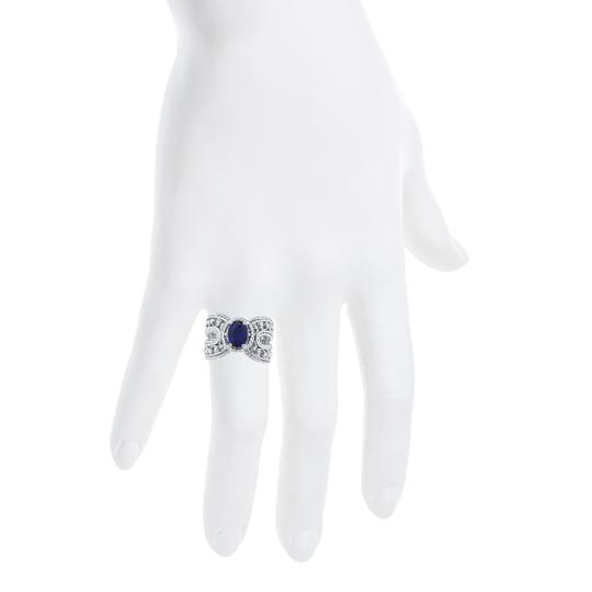Elizabeth Jewelry 1.5 Ct Blue Sapphire Oval Cocktail Design Ring .925 Sterling Silver Image 3