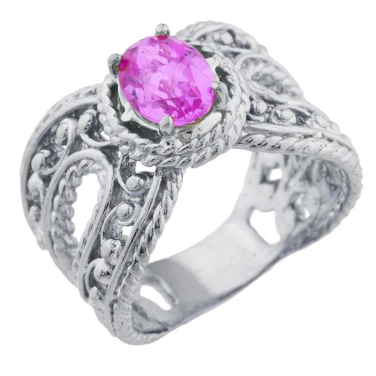 Elizabeth Jewelry 1.5 Ct Pink Sapphire Oval Cocktail Design Ring .925 Sterling Silver Image 1