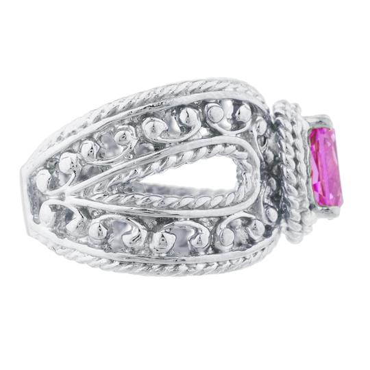 Elizabeth Jewelry 1.5 Ct Pink Sapphire Oval Cocktail Design Ring .925 Sterling Silver Image 2