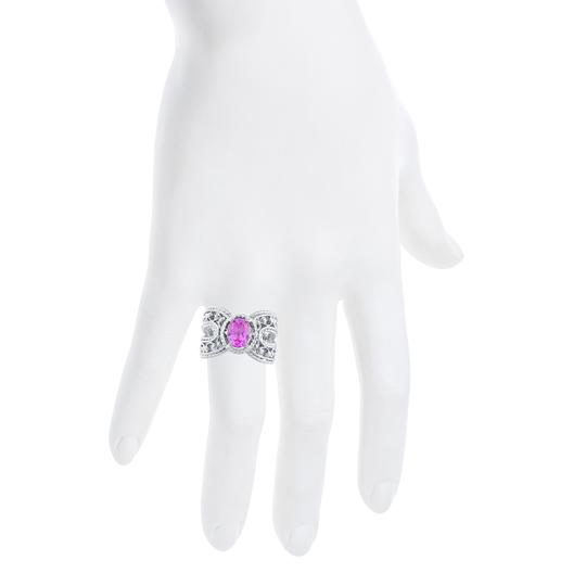 Elizabeth Jewelry 1.5 Ct Pink Sapphire Oval Cocktail Design Ring .925 Sterling Silver Image 3