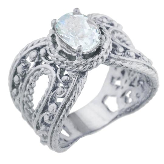 Elizabeth Jewelry 1.5 Ct Genuine Aquamarine Oval Cocktail Ring .925 Sterling Silver Image 1
