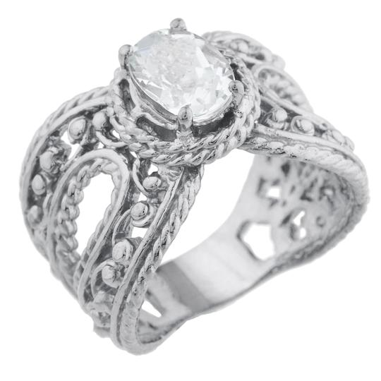 Elizabeth Jewelry 1.5 Ct Cubic Zirconia Oval Cocktail Ring .925 Sterling Silver Image 1