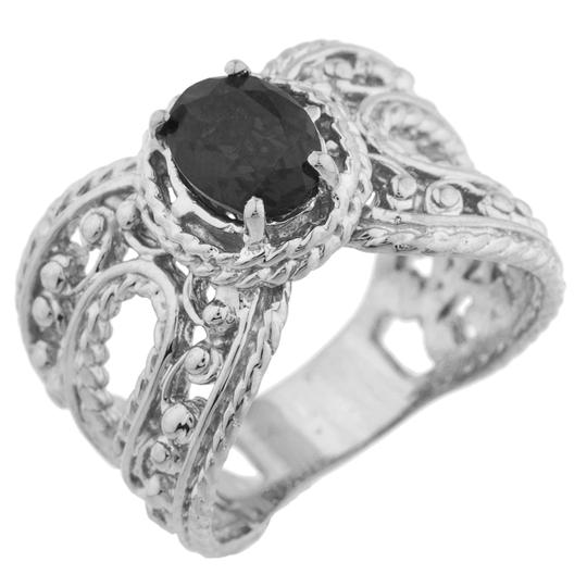 Elizabeth Jewelry 1.5 Ct Genuine Black Onyx Oval Cocktail Ring .925 Sterling Silver Image 1