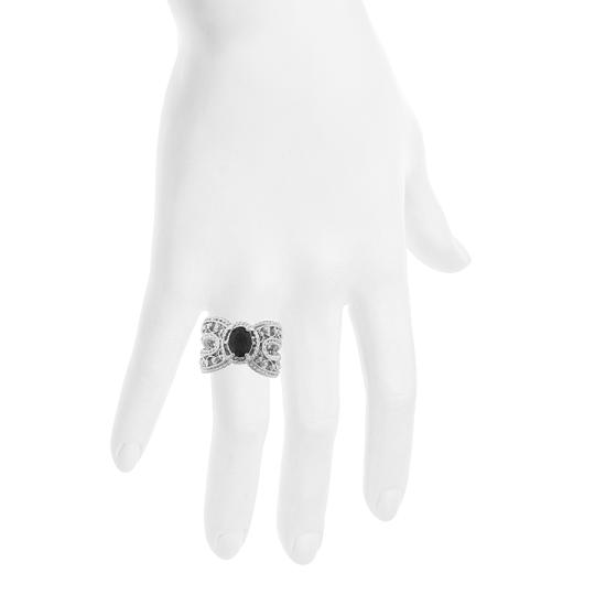 Elizabeth Jewelry 1.5 Ct Genuine Black Onyx Oval Cocktail Ring .925 Sterling Silver Image 3