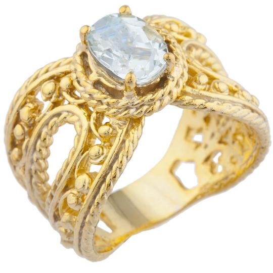Elizabeth Jewelry 14Kt Yellow Gold Plated Genuine Aquamarine Oval Cocktail Ring