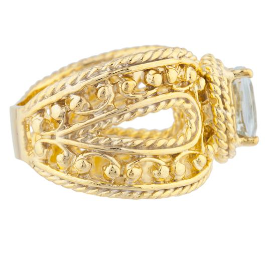 Elizabeth Jewelry 14Kt Yellow Gold Plated Genuine Aquamarine Oval Cocktail Ring Image 2