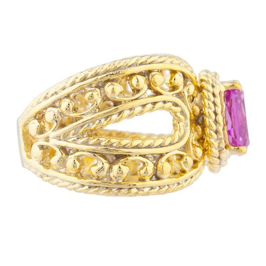 Elizabeth Jewelry 14Kt Yellow Gold Plated Pink Sapphire Oval Cocktail Ring