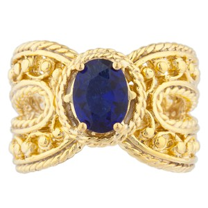 Elizabeth Jewelry 14Kt Yellow Gold Plated Blue Sapphire Oval Cocktail Ring