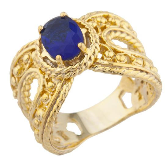 Elizabeth Jewelry 14Kt Yellow Gold Plated Blue Sapphire Oval Cocktail Ring Image 1