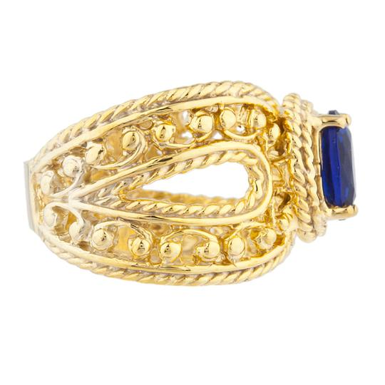 Elizabeth Jewelry 14Kt Yellow Gold Plated Blue Sapphire Oval Cocktail Ring Image 2