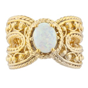 Elizabeth Jewelry 14Kt Yellow Gold Plated Opal Oval Cocktail Ring