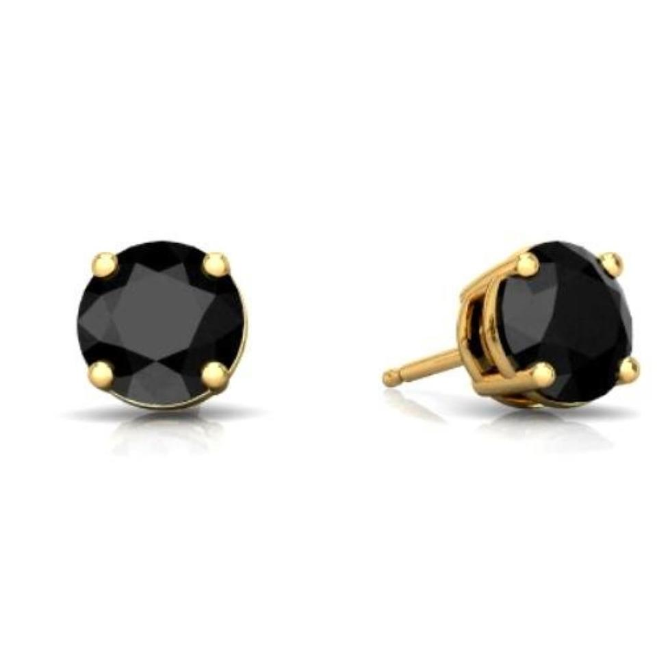 14kt Yellow Gold Genuine Black Onyx Round Stud Earrings 60 Off Retail