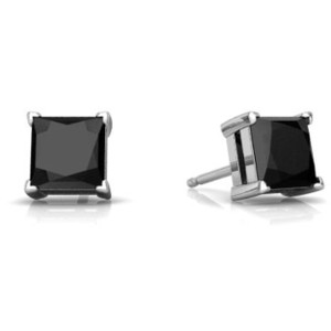 Elizabeth Jewelry 14Kt White Gold Genuine Black Onyx Princess Cut Stud Earrings