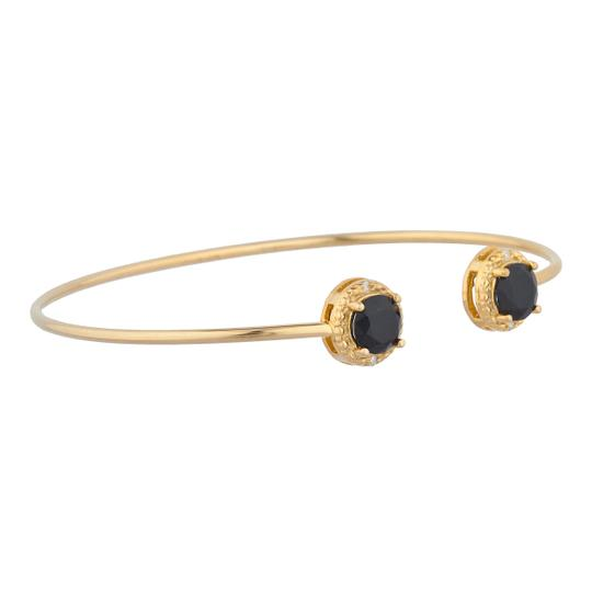 Elizabeth Jewelry Designs 14Kt Yellow Gold Plated Genuine Black Onyx & Diamond Bangle Bracelet