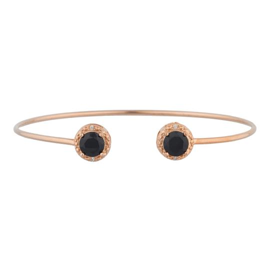 Preload https://item1.tradesy.com/images/14kt-rose-gold-plated-genuine-black-onyx-and-diamond-bangle-bracelet-23340565-0-0.jpg?width=440&height=440