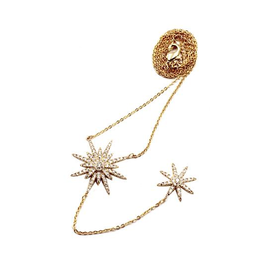 Ocean Fashion 925 Gold Fashion Starfish Crystal Necklace Image 1