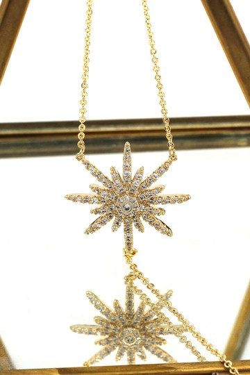 Ocean Fashion 925 Gold Fashion Starfish Crystal Necklace Image 2