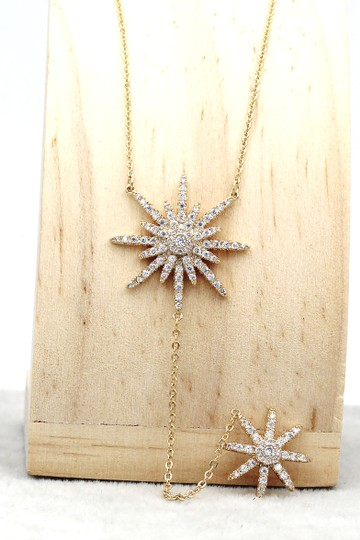Ocean Fashion 925 Gold Fashion Starfish Crystal Necklace Image 3