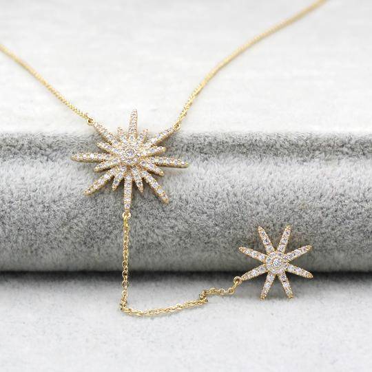 Ocean Fashion 925 Gold Fashion Starfish Crystal Necklace Image 4
