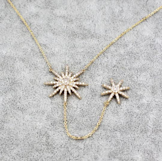Ocean Fashion 925 Gold Fashion Starfish Crystal Necklace Image 6