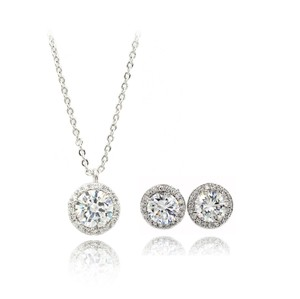 Ocean Fashion Fashion Silver Crystal Earrings Necklace Set