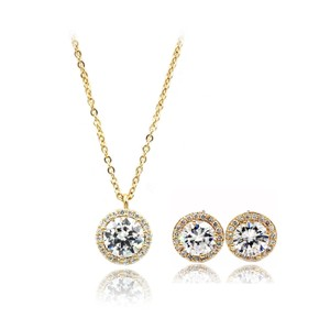 Ocean Fashion Fashion Gold Crystal Earrings Necklace Set