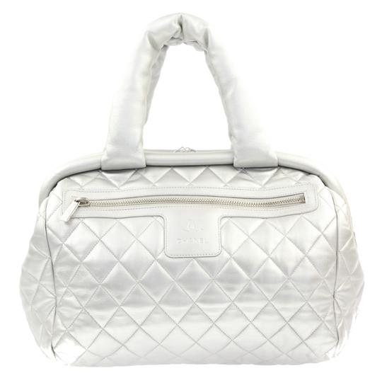 Preload https://item3.tradesy.com/images/chanel-cocoon-coco-bowler-silver-leather-tote-23340637-0-2.jpg?width=440&height=440