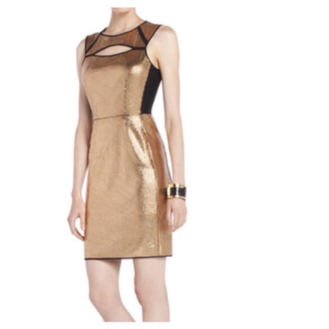 Preload https://item2.tradesy.com/images/bcbgmaxazria-gold-sequin-black-mesh-peekaboo-cutout-bodycon-breona-short-cocktail-dress-size-2-xs-23340676-0-0.jpg?width=400&height=650