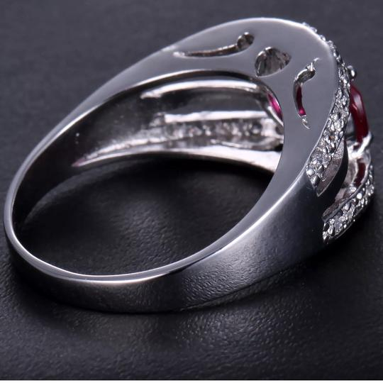 Red Ruby 14K solid white gold