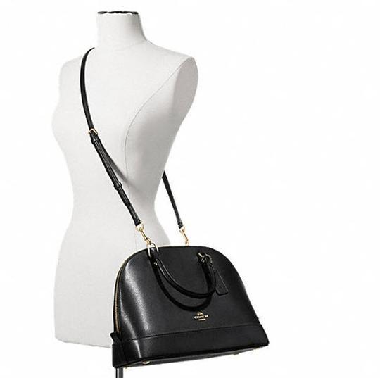 Coach Cora Domed Purse Border Studed 37238 Satchel in black/ gold tone