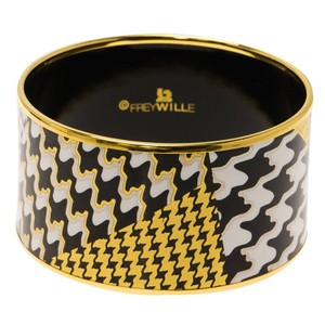 Frey Wille White, Black Gold Tone Fire Enamel Print Gold Plated Wide Bangle 21cm