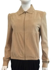 Miu Miu Suede Leather Designer Tan Leather Jacket